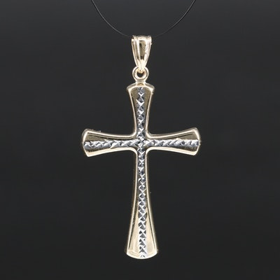 14K Two-Tone Cross Pendant with Diamond Cut Design