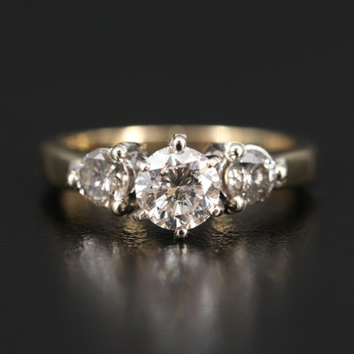 14K 1.03 CTW Diamond Three Stone Ring