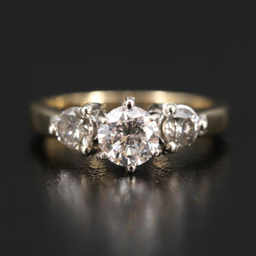 14K 1.03 CTW Diamond Three Stone Ring