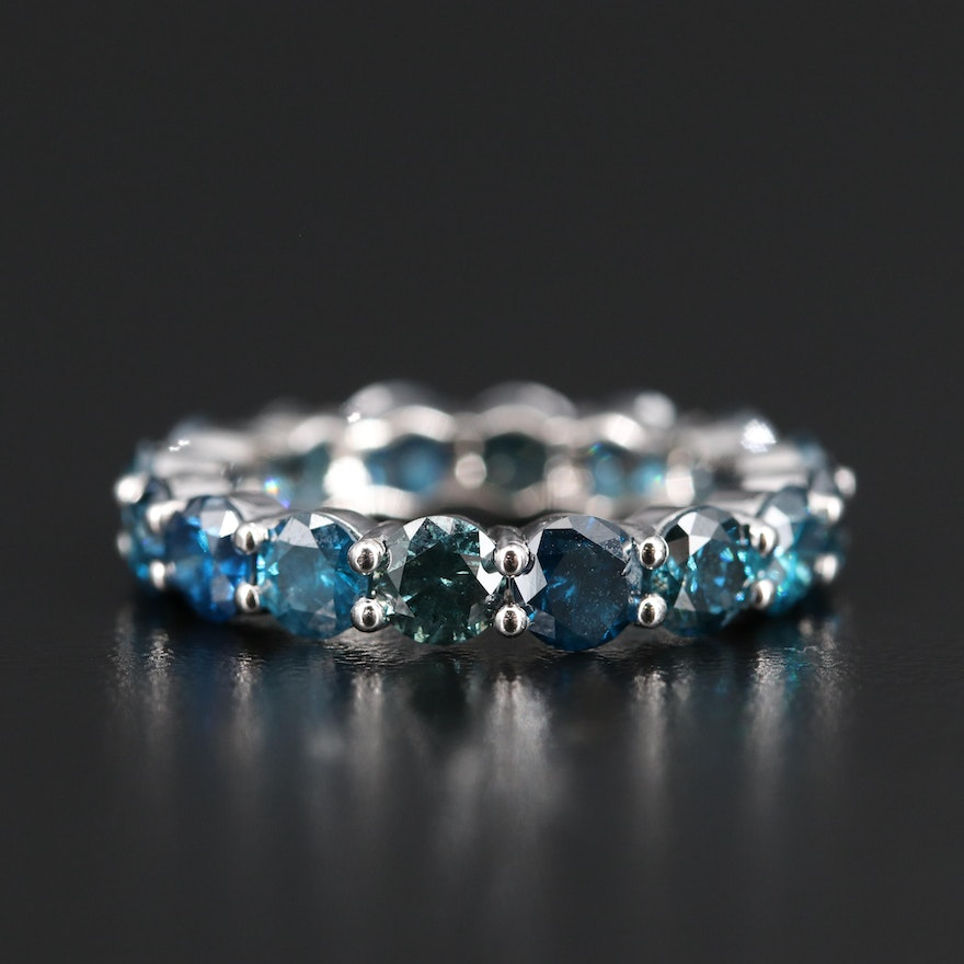 14K 4.50 CTW Blue Diamond Eternity Band