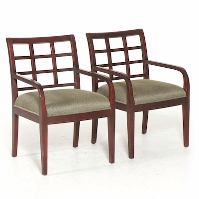 Pair of Bernhardt Contemporary Wood Open Armchairs