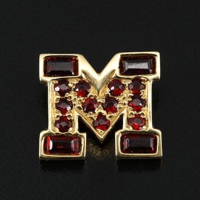 "18K Garnet Monogram ""M"" Pendant"