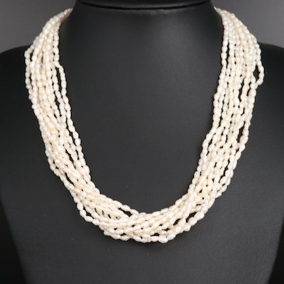 Multi-Strand Pearl Torsade Necklace with 14K Clasp