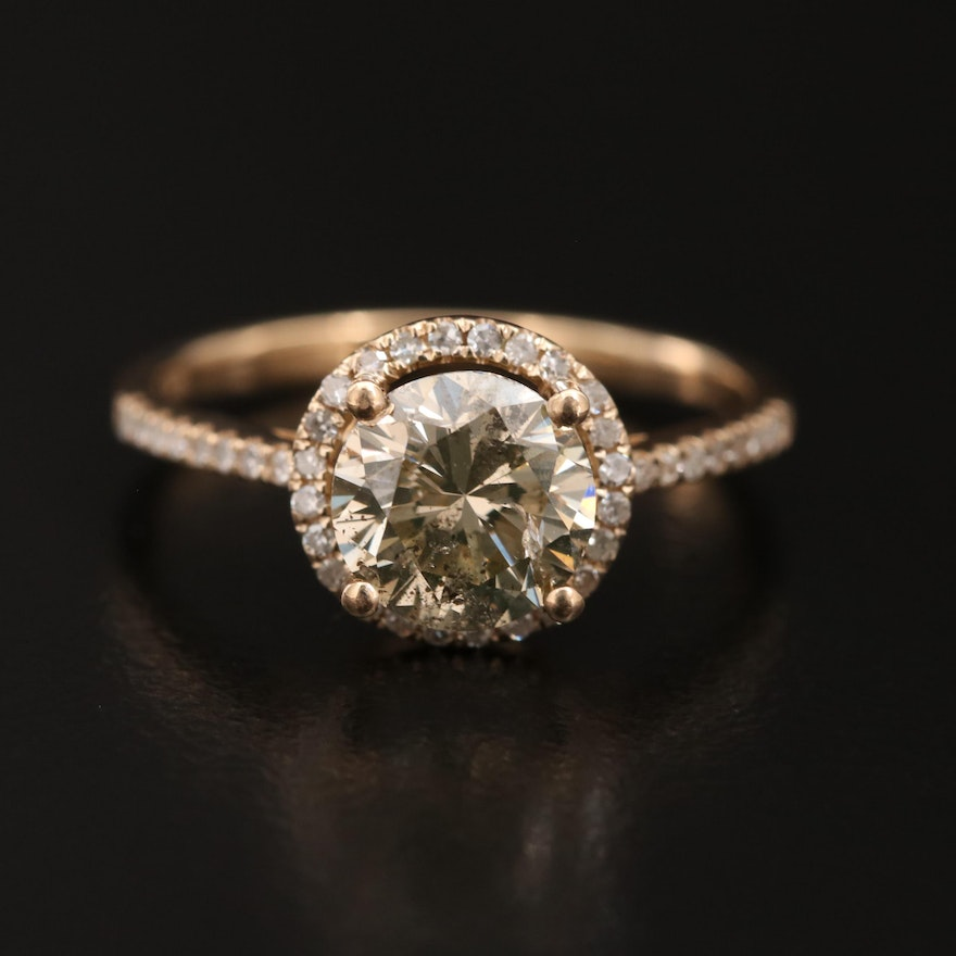 14K 1.62 CTW Diamond Halo Ring