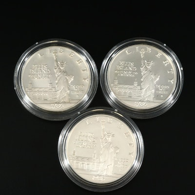 Three 1986-S Statue of Liberty Proof Commemorative Silver Dollars