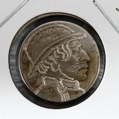 "Contemporary ""Hobo"" Style 1927 Buffalo Nickel"