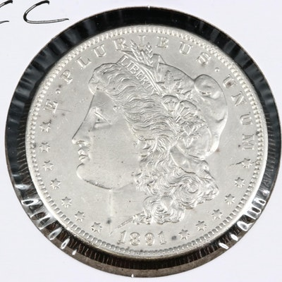 Better Date 1891-CC Uncirculated Morgan Silver Dollar