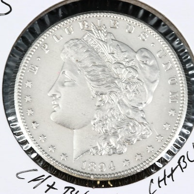 Better Date Lower Mintage 1894-S Uncirculated Morgan Silver Dollar