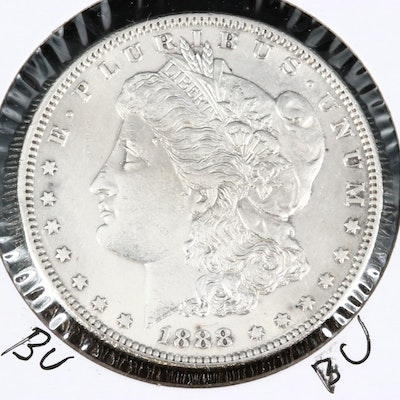 Better Date Low Mintage 1888-S Uncirculated Morgan Silver Dollar.