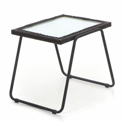 Rattan Edged Glass Top and Metal Patio End Table, Mid-20th C.