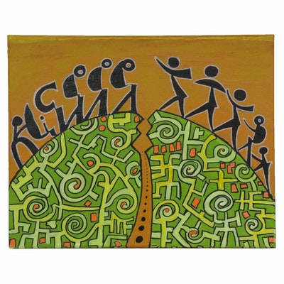 "Lanre Buraimoh Acrylic Painting ""Journey to the Beloved,"" 2008"