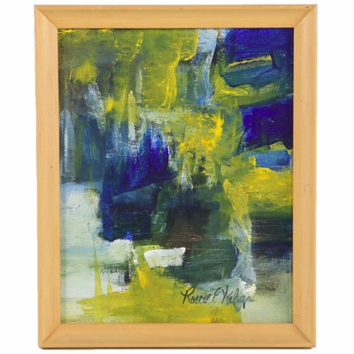 Roscoe E. Wallace Abstract Expressionist Oil Painting