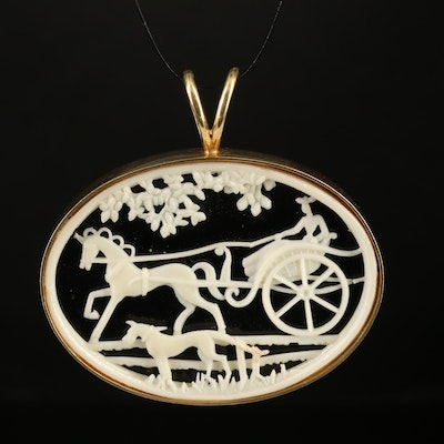 14K Black Onyx Diorama Slide Pendant with Carriage Scene