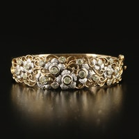 14K 1.05 CTW Diamond Floral Hinged Bracelet