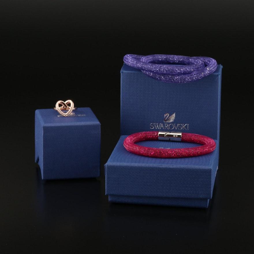 "Swarovski Crystal ""Cupidon"" Ring and ""Stardust"" Bracelets"
