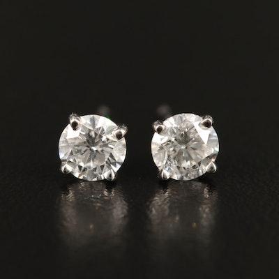 Platinum 0.97 CTW Diamond Stud Earrings with GIA eReports