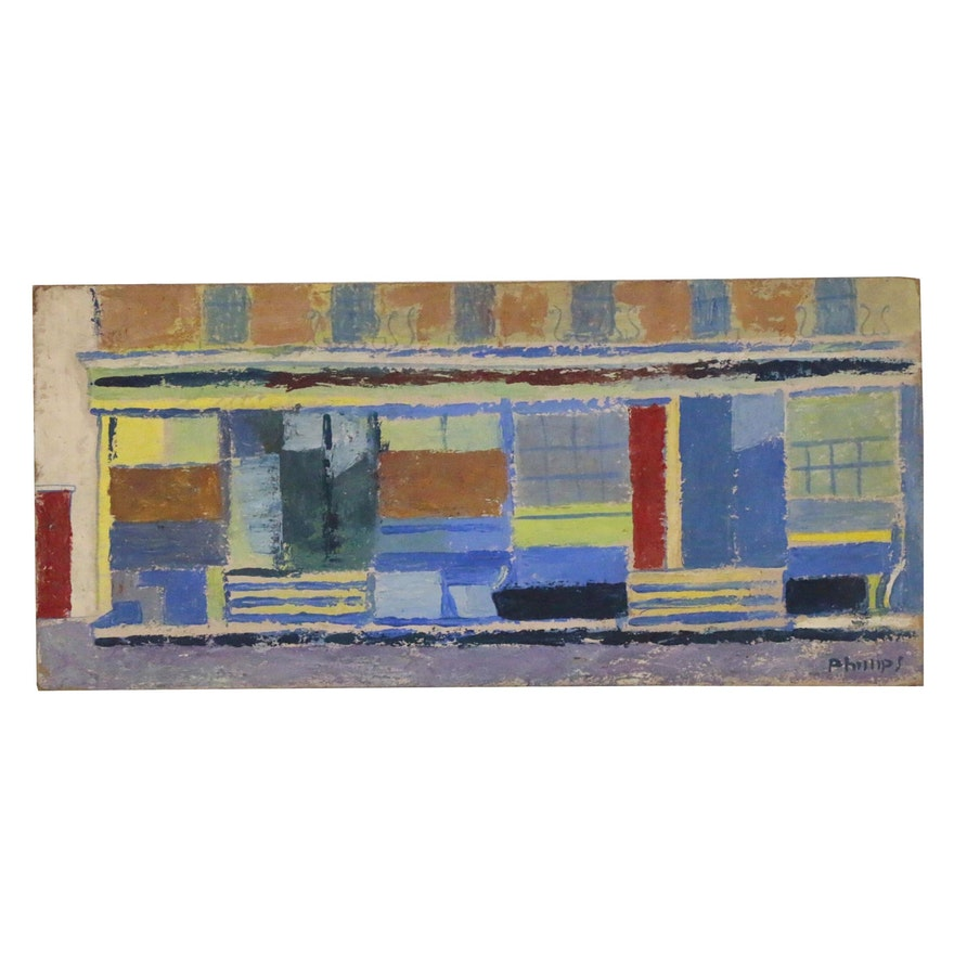 Esther Phillips Abstract Street Scene Gouache Painting, Mid-20th Century
