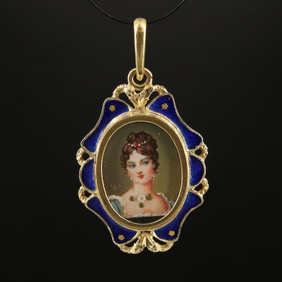 Vintage 14K Diamond and Enamel Portrait Pendant
