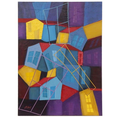 J.C. Hall Abstract Mixed Media Painting of Houses