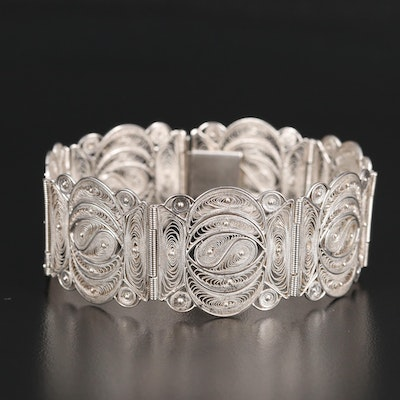 900 Silver Filigree Panel Bracelet