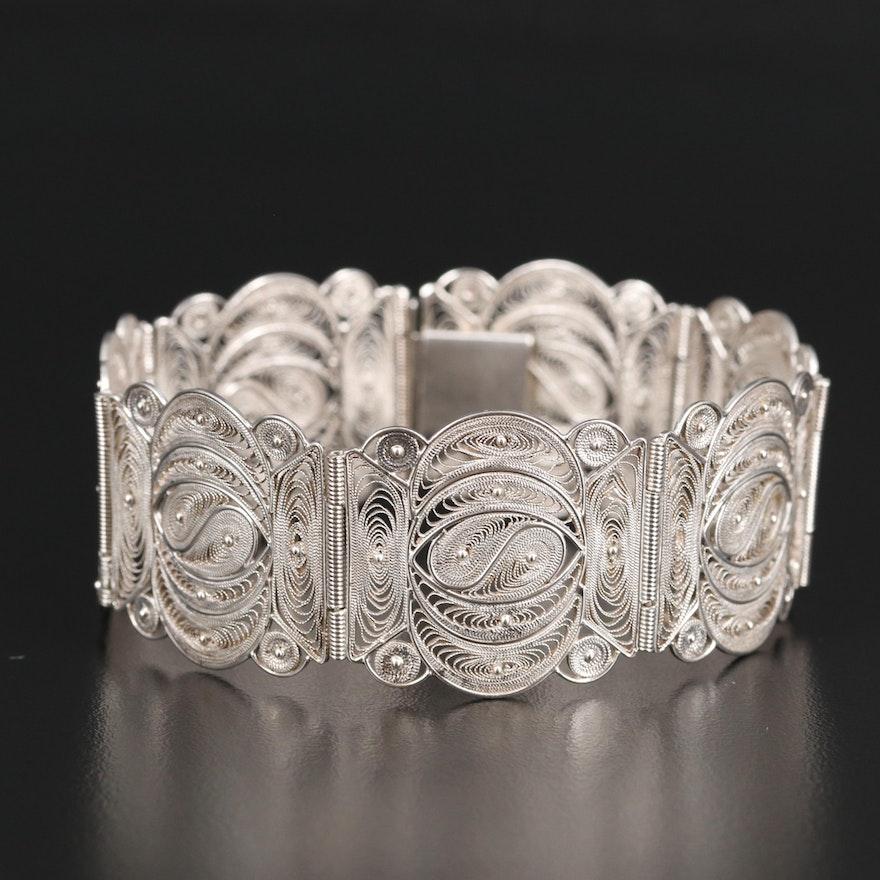 900 Silver Filigree Panel Bracelet
