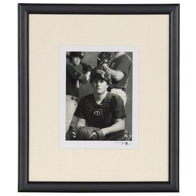 Tommy Allen Silver Gelatin Photograph of Baseball Catcher, 21st Century