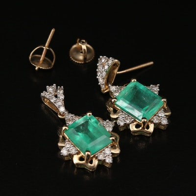 14K 5.78 CTW Emerald and Diamond Dangle Earrings