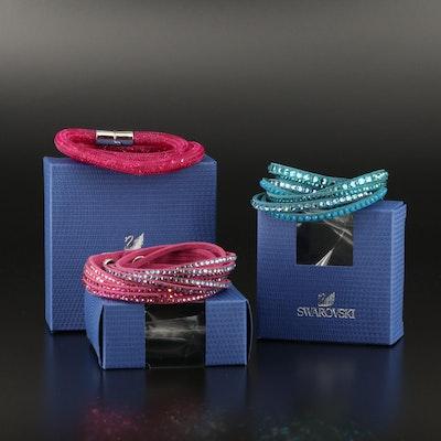 """Swarovski Suede and """"Stardust"""" Wrap Bracelets"""