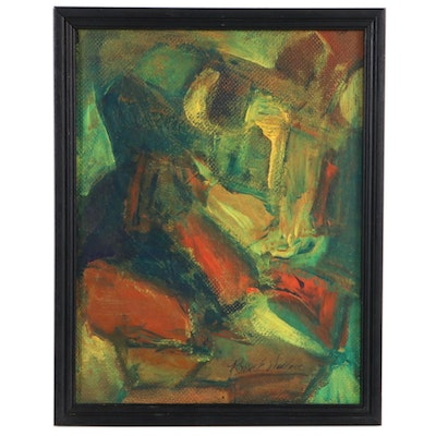 Roscoe E. Wallace Abstract Oil Painting