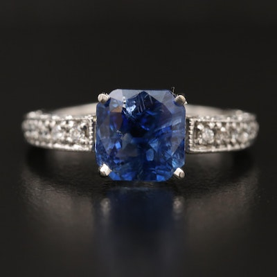 Platinum 4.01 CT Madagascar Sapphire and Diamond Ring with GIA Report