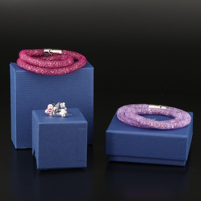 "Swarovski ""Stardust"" Wrap Bracelets and ""Cherie"" Open Top Ring"