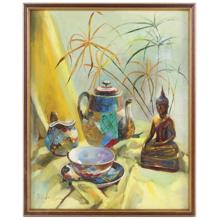 Zsuzsanna Suger Still Life Oil Painting with Tea Kettle and Buddha, 20th Century