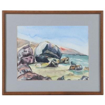 Coastal Landscape Watercolor Painting, 1970