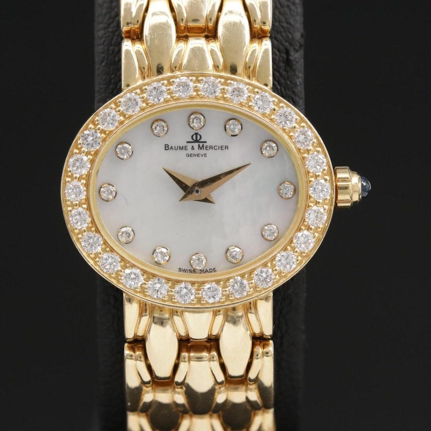 Baume & Mercier 18K Gold  Diamond Wristwatch