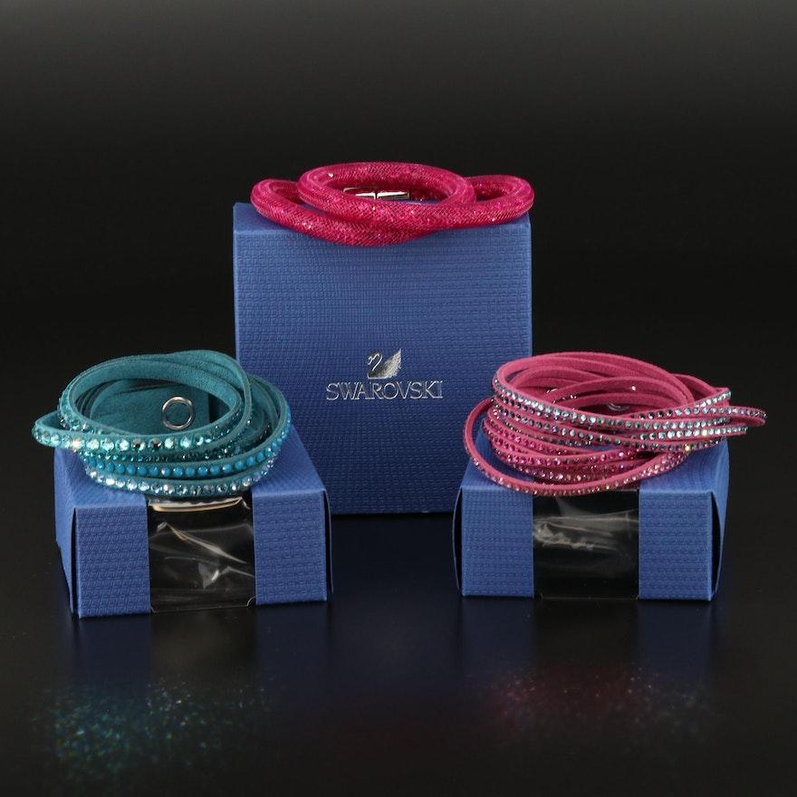 "Swarovski Crystal ""Stardust"" Double and Suede Multi-Row Bracelets"