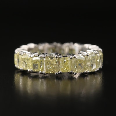 Platinum 6.27 CTW Fancy Yellow Diamond Eternity Band