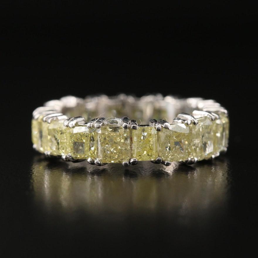 Platinum 6.27 CTW Fancy Yellow Diamond Eternity Band