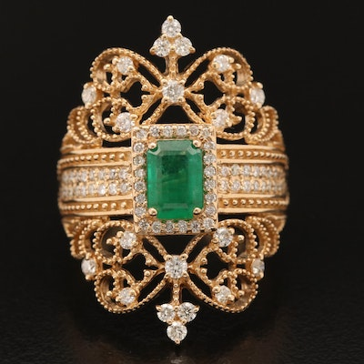 "EFFY ""Brasilica"" 14K Emerald and Diamond Ring"
