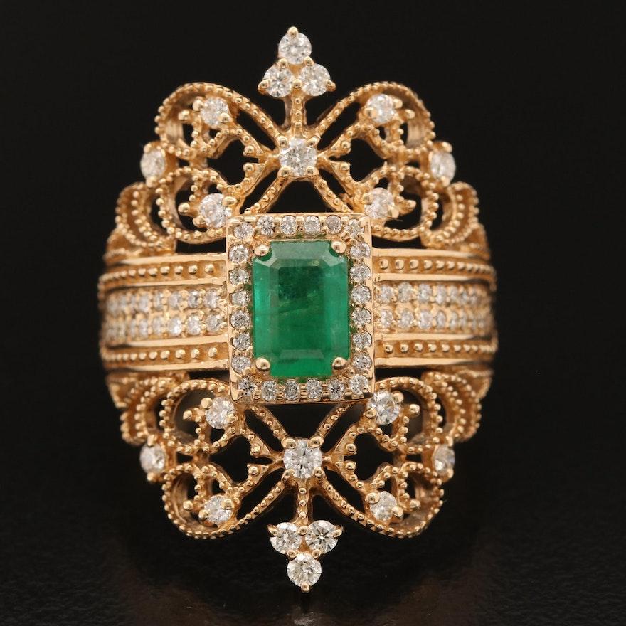 "EFFY ""Brasilica"" 14K Emerald and Diamond Ring"