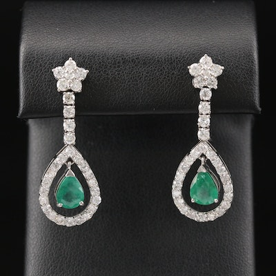 Platinum 1.99 CTW Emerald and 2.45 CTW Diamond Teardrop Dangle Earrings