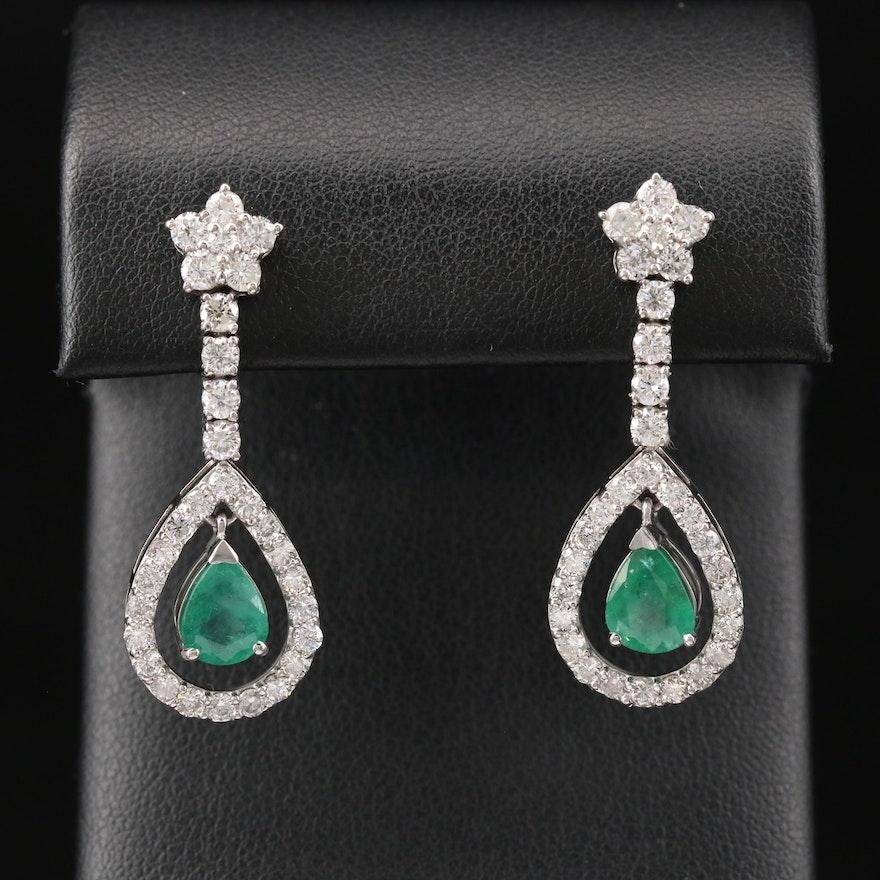 Platinum 1.99 CTW Emerald and 2.45 CTW Diamond Teardrop Dangle Earrings
