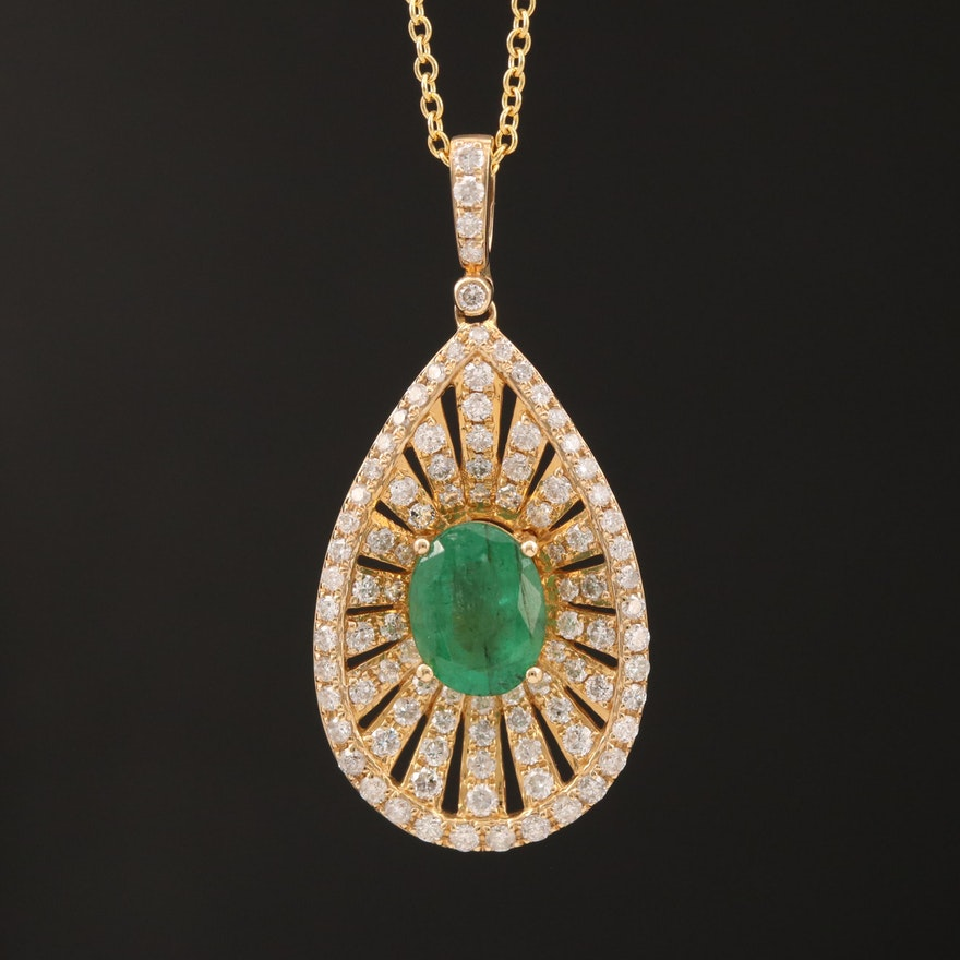 EFFY 14K 1.24 CT Emerald and 1.02 CTW Diamond Necklace