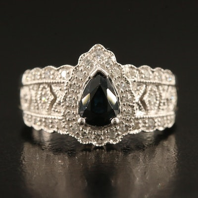 14K Sapphire and Diamond Ring with Scalloped Edges
