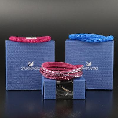 """Swarovski """"Stardust"""" and Suede Wrap Bracelets"""