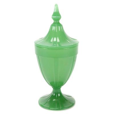 Pressed Glass Jade Green Milk Glass Lidded Candy Jar, Mid-20th Century