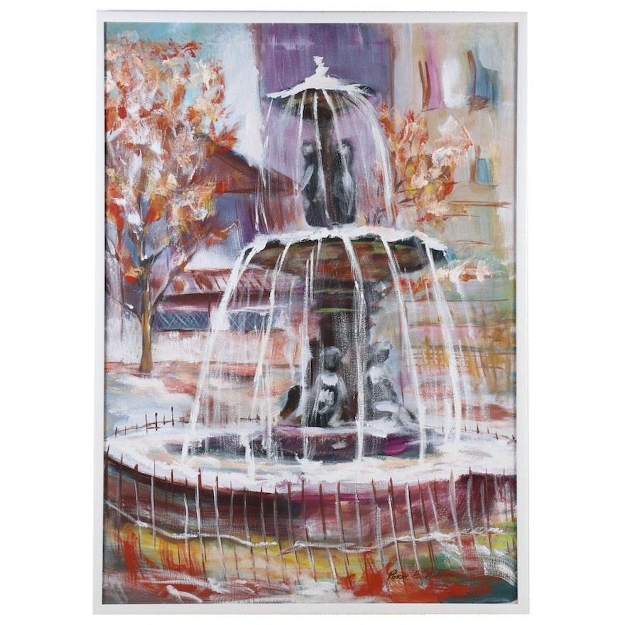Roscoe E. Wallace Impressionist Style Oil Painting of Fountain Scene