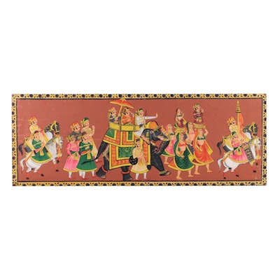 Indo-Turkish Gouache Painting of Aristocratic Procession with Elephant
