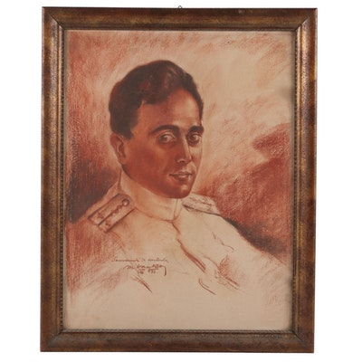 Maxo Vanka Portrait Pastel Drawing of Military Officer, 1937