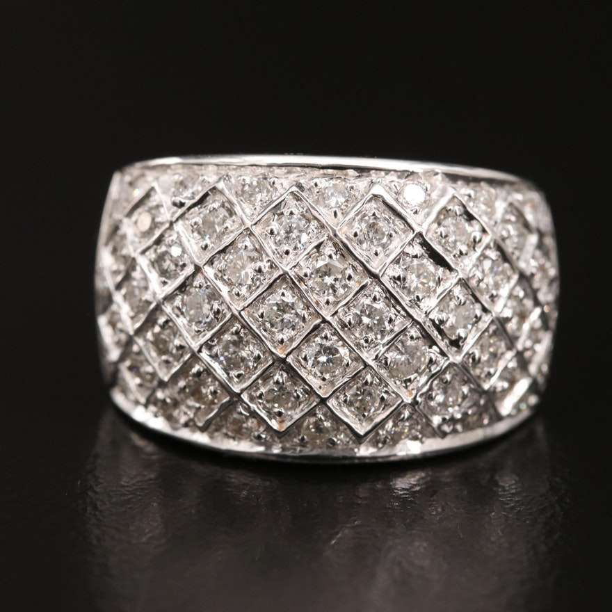 14K 1.04 CTW Diamond Lattice Ring