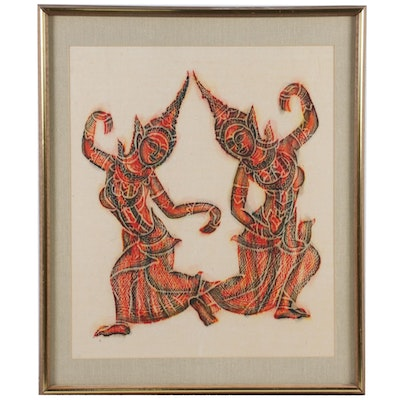 Thai Temple Rubbing of Dancing Female Figures, Mid to Late 20th Century